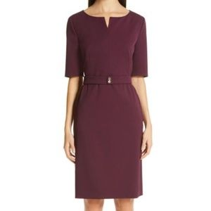 Hugo Boss debaly burgundy stretch sheath dress